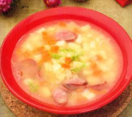 Гороховый суп с копчеными колбасками. Готовим в мультиварке