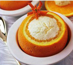 Мороженое в корзиночках из апельсинов