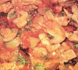 Поджарка из свинины с грибами и перцем