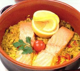 Рыба на рисовой подушке
