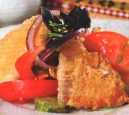 Рыба в сыре с овощным соусом