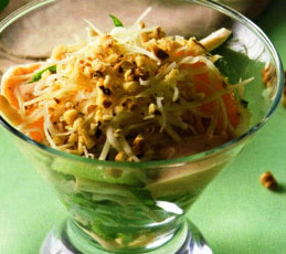 Салат-коктейль с индейкой, мандаринами и киви