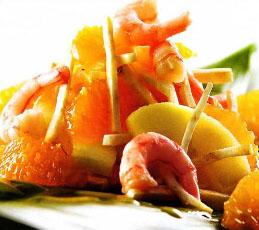 Салат мандариновый с креветками