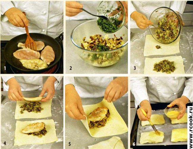 Грудки куриные в слоеном тесте приготовление