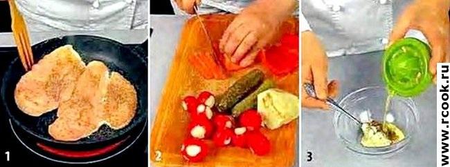 Салат с курицей и сельдереем приготовление