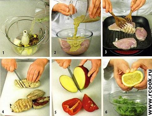 Салат с курицей и манго приготовление