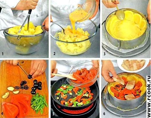 Треска в картофельной тарелке приготовление