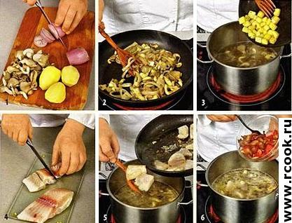 Рыбный суп с беконом приготовление