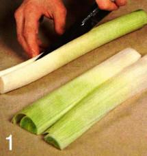 Горячая закуска из семги и лука-порея приготовление