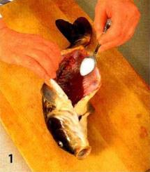 Карп на овощной подушке с грибами приготовление