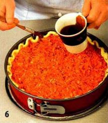 Открытый морковный пирог приготовление