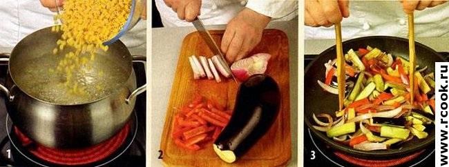 Паста с овощами приготовление