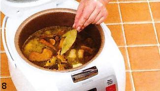 Перловый суп с белыми грибами. Готовим в мультиварке приготовление