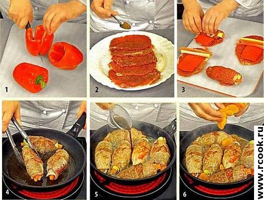 Свиные рулетики со сладким перцем приготовление
