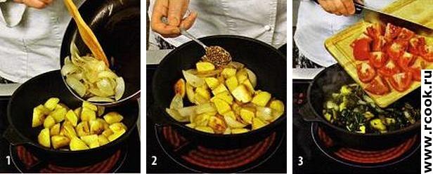Картофель со шпинатом приготовление