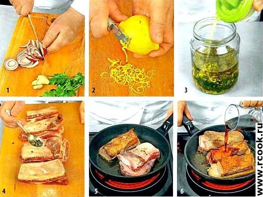 Ребрышки с лимонным соусом приготовление