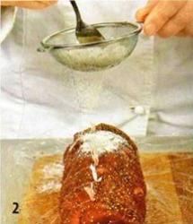Рулет из телятины с ветчиной и пончиками приготовление