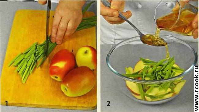 Салат из зеленого лука с яблоками приготовление