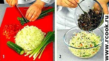 Салат с морской капустой приготовление