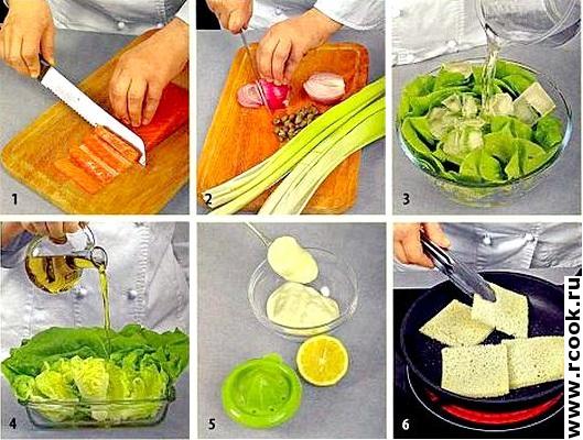 Салат с копченой форелью приготовление