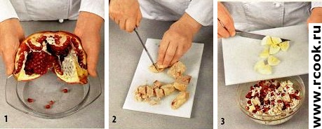 Салат из тунца с гранатом приготовление