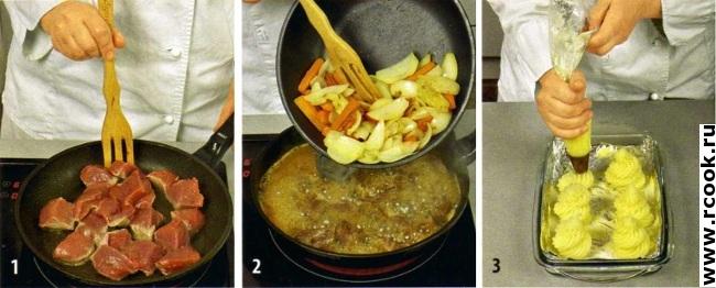 Телятина с запеченным картофельным пюре приготовление