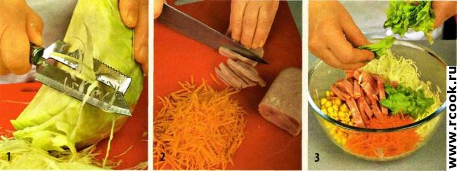 Овощной салат с ветчиной приготовление