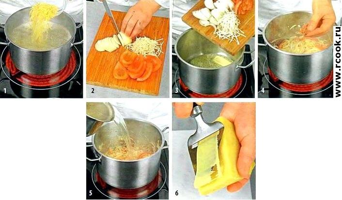 Суп вермишелевый с овощами и сыром приготовление